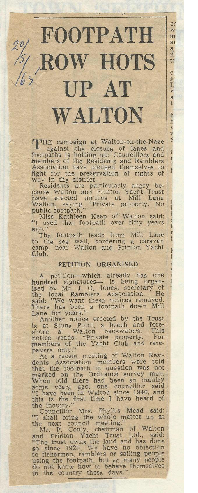 Article In Local Paper From May 1965 About Footpath 37 At Walton-on-the-Naze